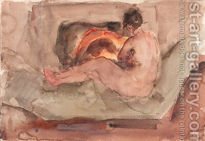 A reclining nude in front of a fire-place by Isaac Israels - Reproduction Oil Painting
