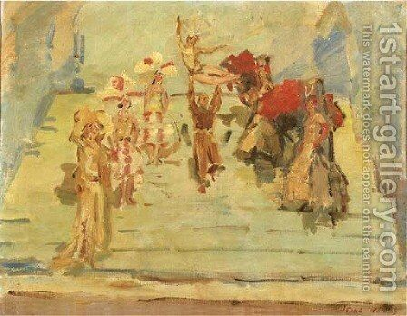 A revue-dance at the Scala theatre, The Hague by Isaac Israels - Reproduction Oil Painting