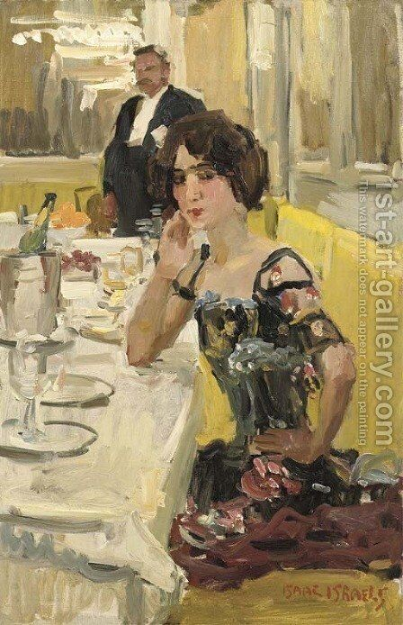 A table au Restaurant Le Perroquet, Paris by Isaac Israels - Reproduction Oil Painting
