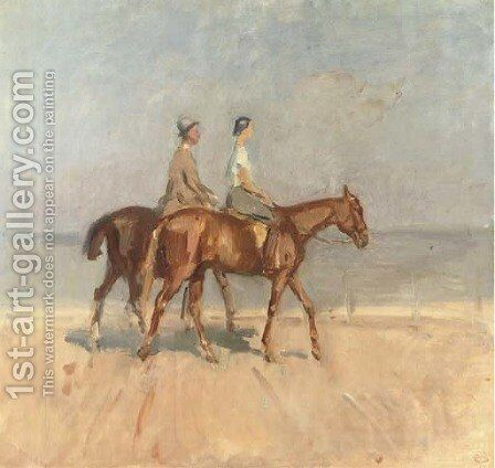 An afternoon ride on Scheveningen beach by Isaac Israels - Reproduction Oil Painting