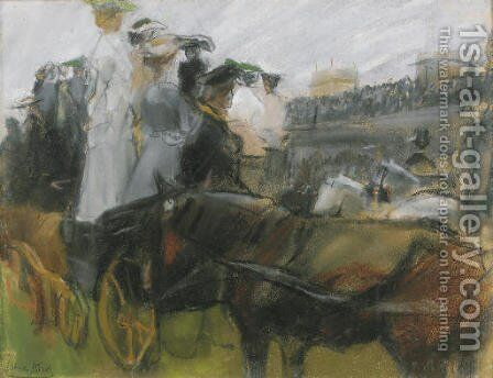 At the Longchamps races, Paris by Isaac Israels - Reproduction Oil Painting