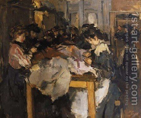 Atelier costume naaisters by Isaac Israels - Reproduction Oil Painting