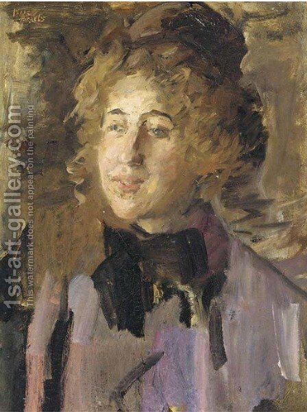 Dame in violet a lady in violet by Isaac Israels - Reproduction Oil Painting
