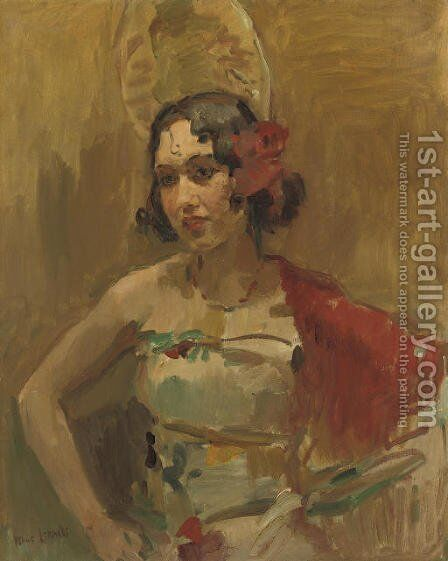 Danseres met roode sjaal a Spanish beauty by Isaac Israels - Reproduction Oil Painting