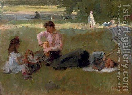 Picnic in the Bois de Boulogne, Paris by Isaac Israels - Reproduction Oil Painting