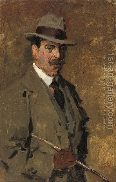 Portrait of a gentleman holding a riding-crop by Isaac Israels - Reproduction Oil Painting