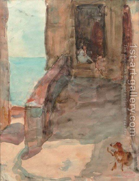 Sitting on the steps by Isaac Israels - Reproduction Oil Painting