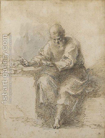 St Jerome reading by Isaac Oliver - Reproduction Oil Painting