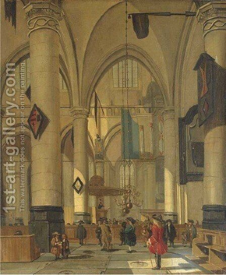The interior of a Dutch church by Isaak Nickelen - Reproduction Oil Painting