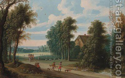 An extensive wooded landscape with a falconer and his hoop on a path by Isaak van Oosten - Reproduction Oil Painting