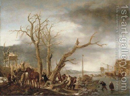 A frozen river landscape with woodsmen felling a tree by Isaack Jansz. van Ostade - Reproduction Oil Painting