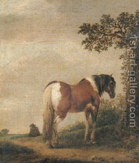 A horse in a landscape by Isaack Jansz. van Ostade - Reproduction Oil Painting