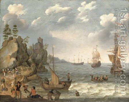A coastal landscape with shipping and fishermen selling their catch by Isaac Willaerts - Reproduction Oil Painting