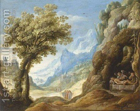The Dead Christ lamented by Angels in a mountainous landscape by Isaak De Hoey - Reproduction Oil Painting