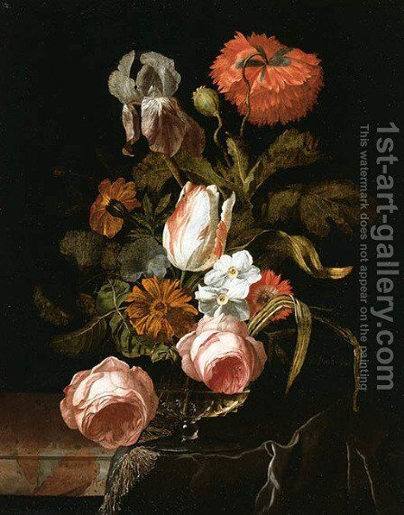 A tulip and Roses by Isaak Denies - Reproduction Oil Painting