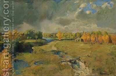 Golden Autumn by the River by Isaak Ilyich Levitan - Reproduction Oil Painting