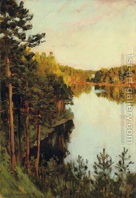 Lake in the forest by Isaak Ilyich Levitan - Reproduction Oil Painting
