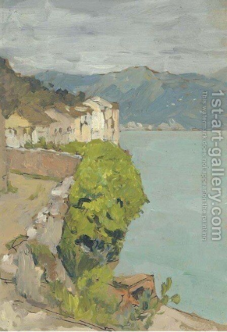 View of a coastal village by Isaak Ilyich Levitan - Reproduction Oil Painting
