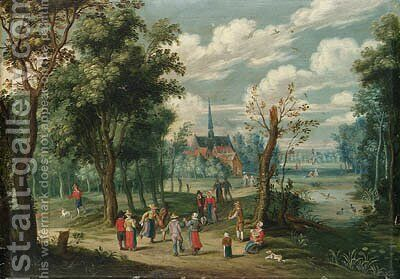 A wooded landscape with peasants dancing by Isaak van Oosten - Reproduction Oil Painting