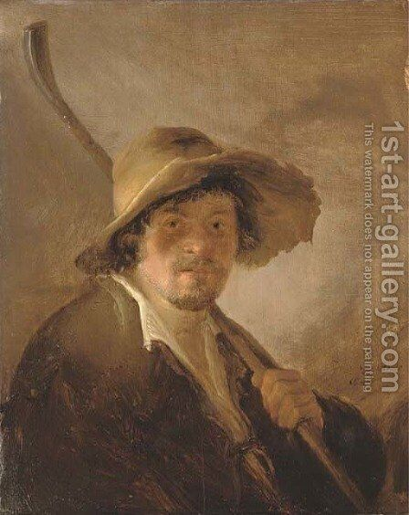 A shepherd in a wide brimmed hat holding a crook by Isaack Jansz. van Ostade - Reproduction Oil Painting