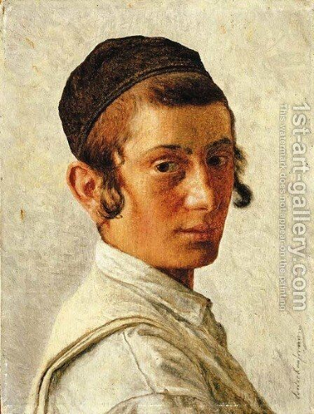 Portrait of a Young Boy by Isidor Kaufmann - Reproduction Oil Painting