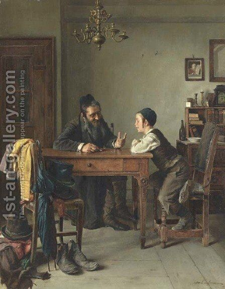 Commercial Instruction by Isidor Kaufmann - Reproduction Oil Painting