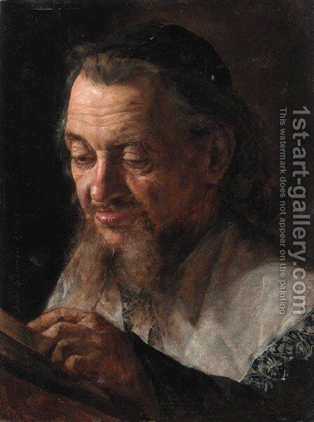 Portrait of a Rabbi by Isidor Kaufmann - Reproduction Oil Painting