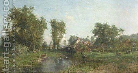 Summer landscape with cows grazing by a watermill by Isidore Verheyden - Reproduction Oil Painting