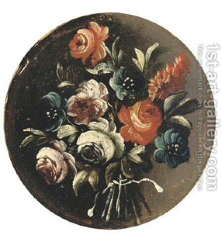 A floral bouquet by Italian School - Reproduction Oil Painting