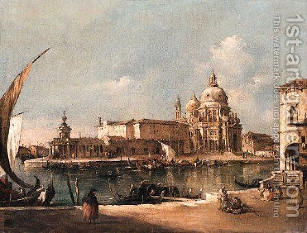 A View of Venice the Entrance to the Grand Canal, with Santa Maria della Salute by Italian School - Reproduction Oil Painting