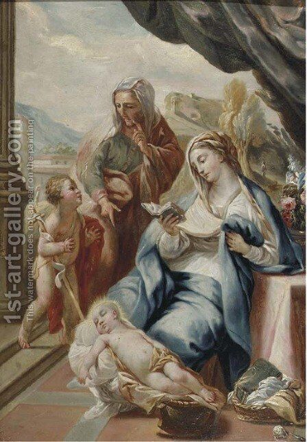 The Madonna and Child with the Infant Saint John the Baptist and Saint Anne on a terrace, a landscape beyond by Italian School - Reproduction Oil Painting