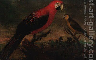 A scarlet macaw and a parrot in a landscape by Italian School - Reproduction Oil Painting