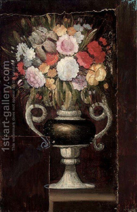 Carnations, narcissi and other flowers in an urn on a ledge by Italian School - Reproduction Oil Painting