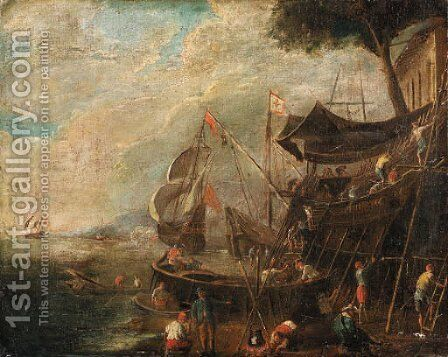 A Mediterranean Landscape with Shipbuilders by Italian School - Reproduction Oil Painting