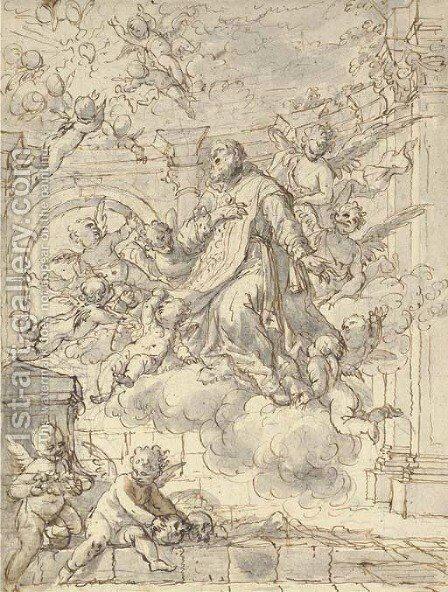 The apotheosis of a cleric-saint by Italian School - Reproduction Oil Painting