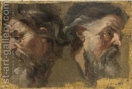 Two bearded heads in profile by Italian School - Reproduction Oil Painting