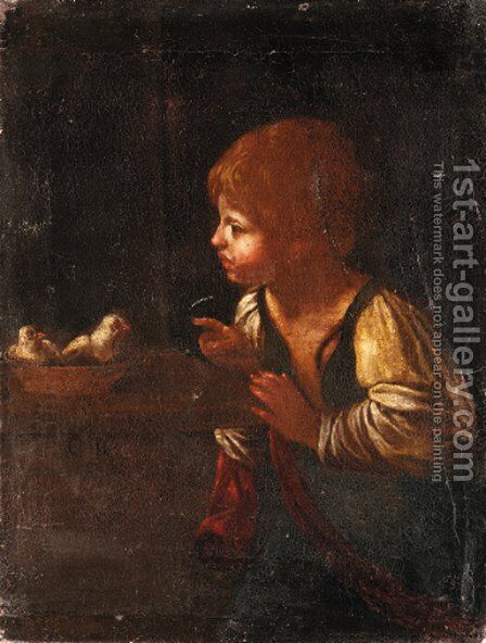 A boy with chicks by Italian School - Reproduction Oil Painting