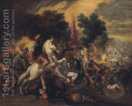 A cavalry battle in an encampment by Italian School - Reproduction Oil Painting