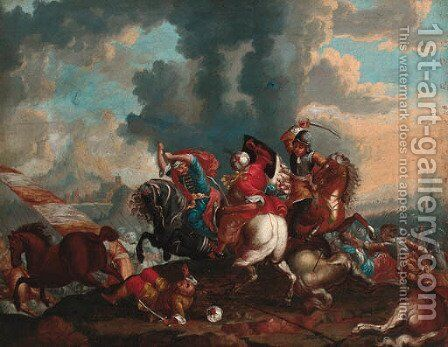 A cavalry skirmish between Christians and Turks by Italian School - Reproduction Oil Painting