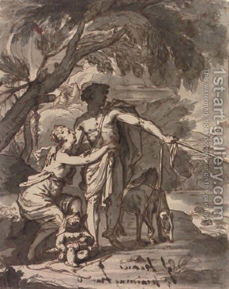 Classical figures with animals by Italian School - Reproduction Oil Painting