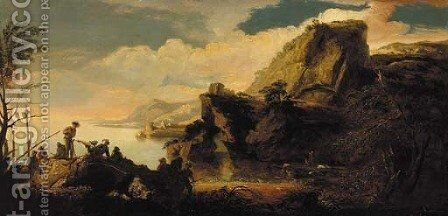 Figures in a coastal inlet by Italian School - Reproduction Oil Painting