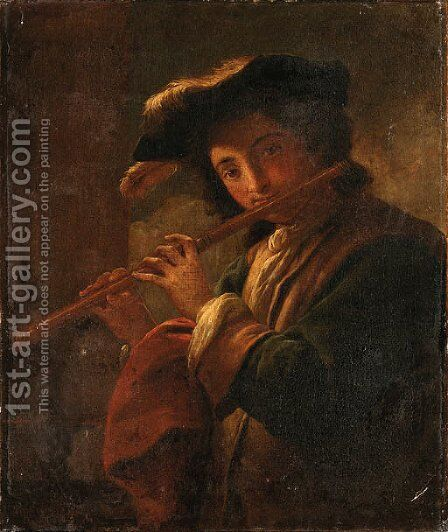 A young Man playing a Flute by Italian School - Reproduction Oil Painting