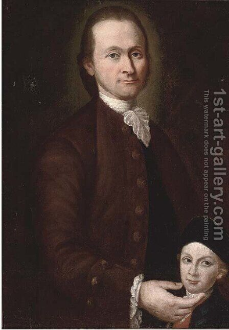 Portrait of a father and son by Italian School - Reproduction Oil Painting