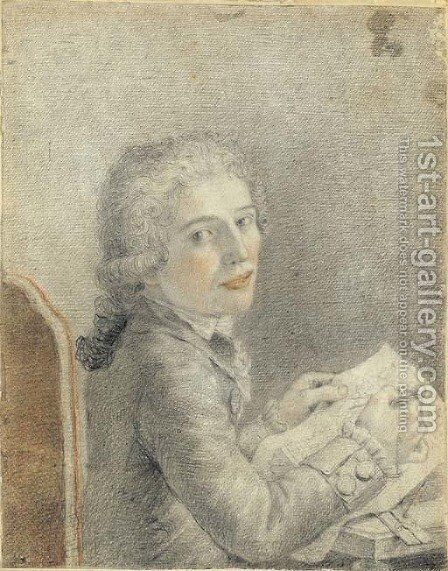 Portrait of an architect seated at a table holding dividers by Italian School - Reproduction Oil Painting