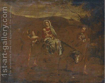 The Flight on the Road to Egypt by Italian School - Reproduction Oil Painting