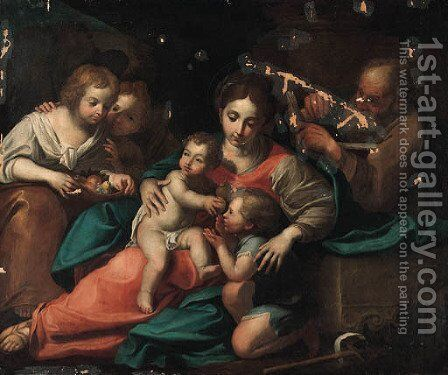 The Holy Family with Saint John the Baptist and two Attendants carrying Fruit by Italian School - Reproduction Oil Painting
