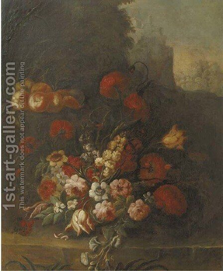 Tulips, roses, peonies, narcissus and other flowers and peaches on a ledge by Italian School - Reproduction Oil Painting