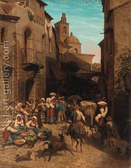 A busy continental market by Italian School - Reproduction Oil Painting