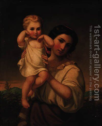 A mother and child by Italian School - Reproduction Oil Painting