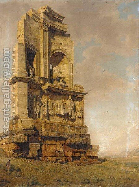 A ruined section of a Roman temple by Italian School - Reproduction Oil Painting